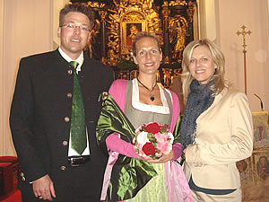 Karoline and Michael with Miriam in beautiful church of Hilfberg